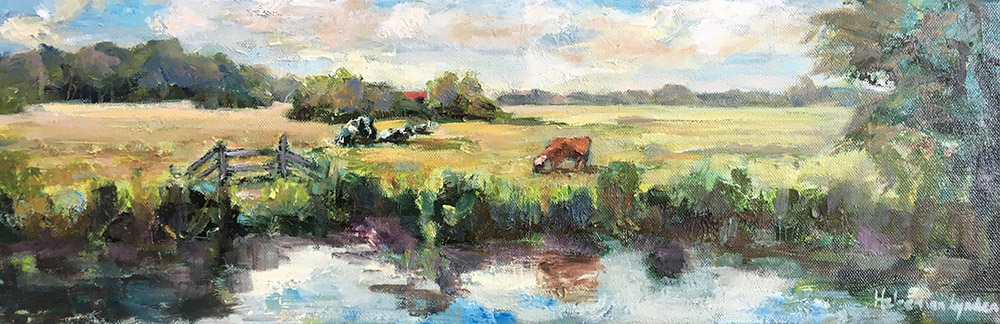 landscape cows paintings, dutch landscape, hollands landschap met koeien schilderijen, Lynden