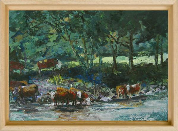 2013-LS025-Cows-in-Tauernriver-40×50-baklijst-blank