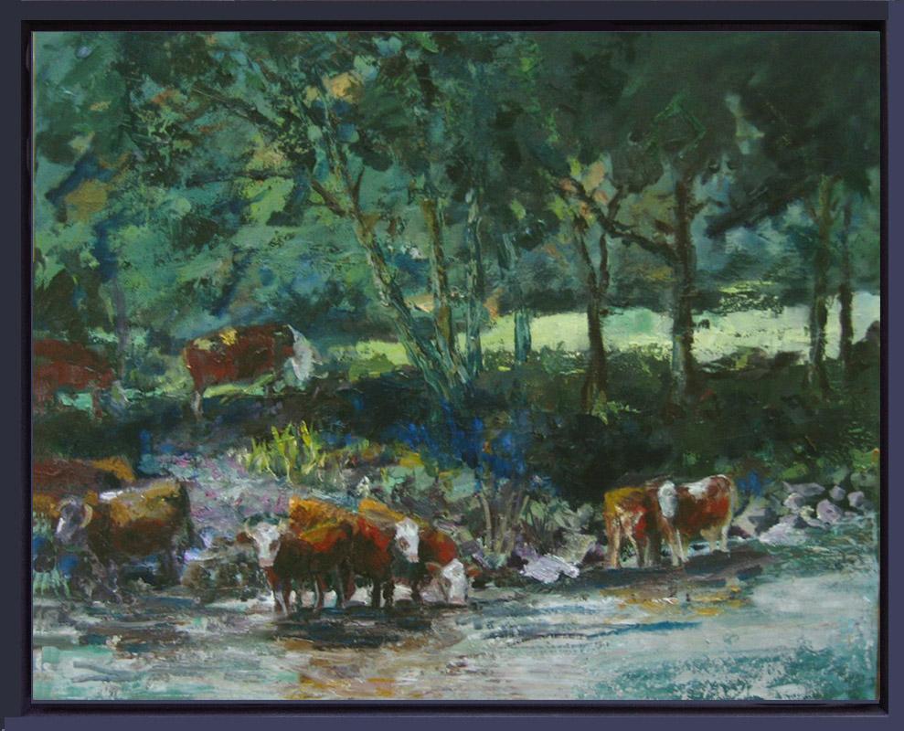 2013-LS025-Cows-in-Tauernriver-40×50-baklijst gekleurd