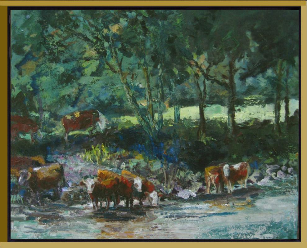 2013-LS025-Cows-in-Tauernriver-40×50-baklijst zwart-goud