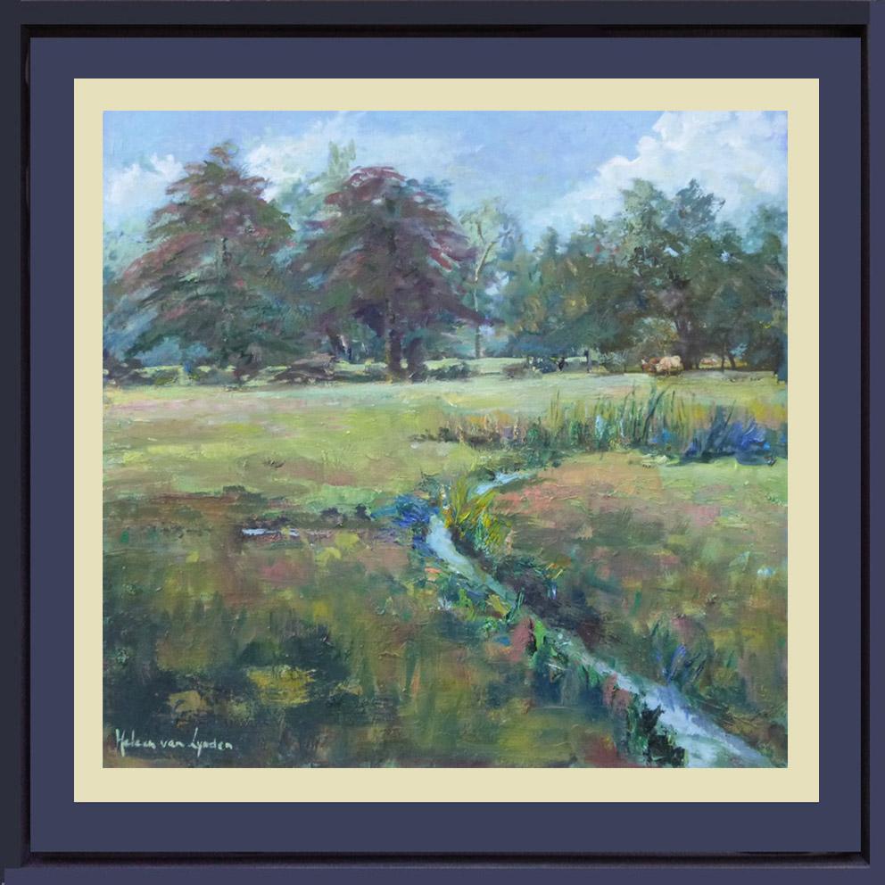 2015-LS030-Landscape-with-ditch-40×40-baklijst gekleurd-passepartout