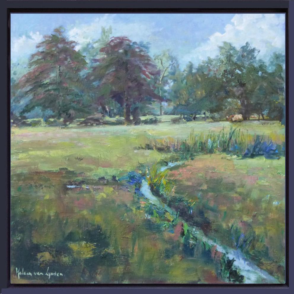 2015-LS030-Landscape-with-ditch-40×40-baklijst gekleurd