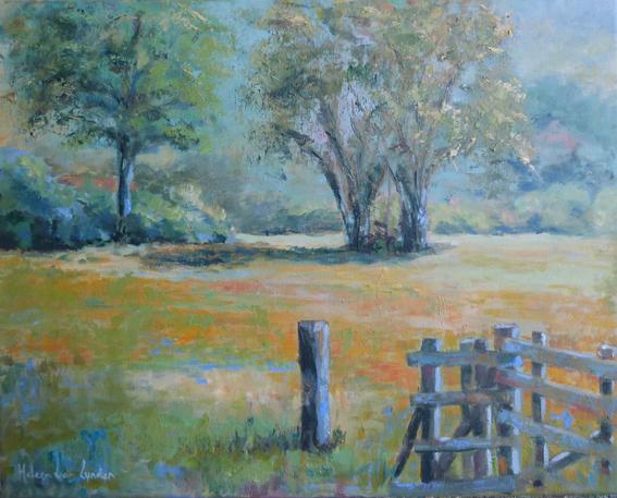 LS031-landscapes paintings van Lynden-Dutch landscape with-fence-