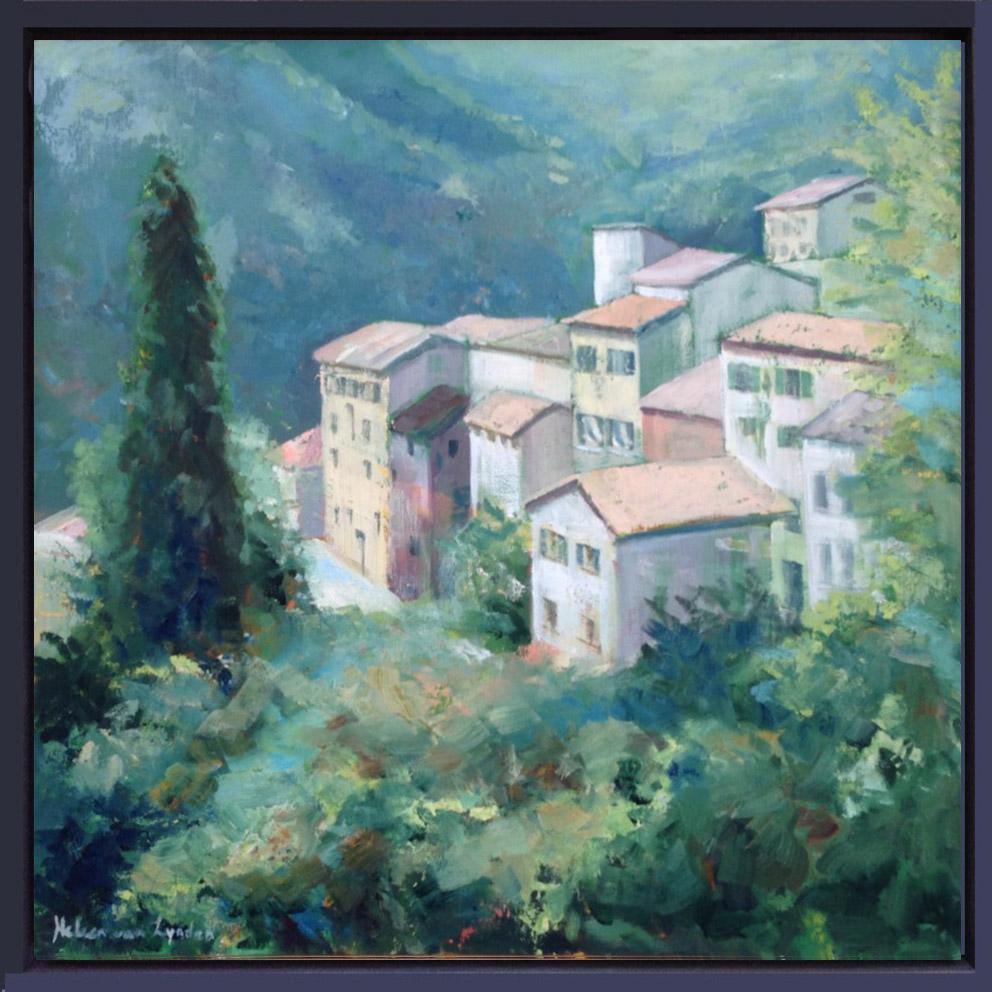 CS008-dorpje Provence-Aiglun-baklijst blauw