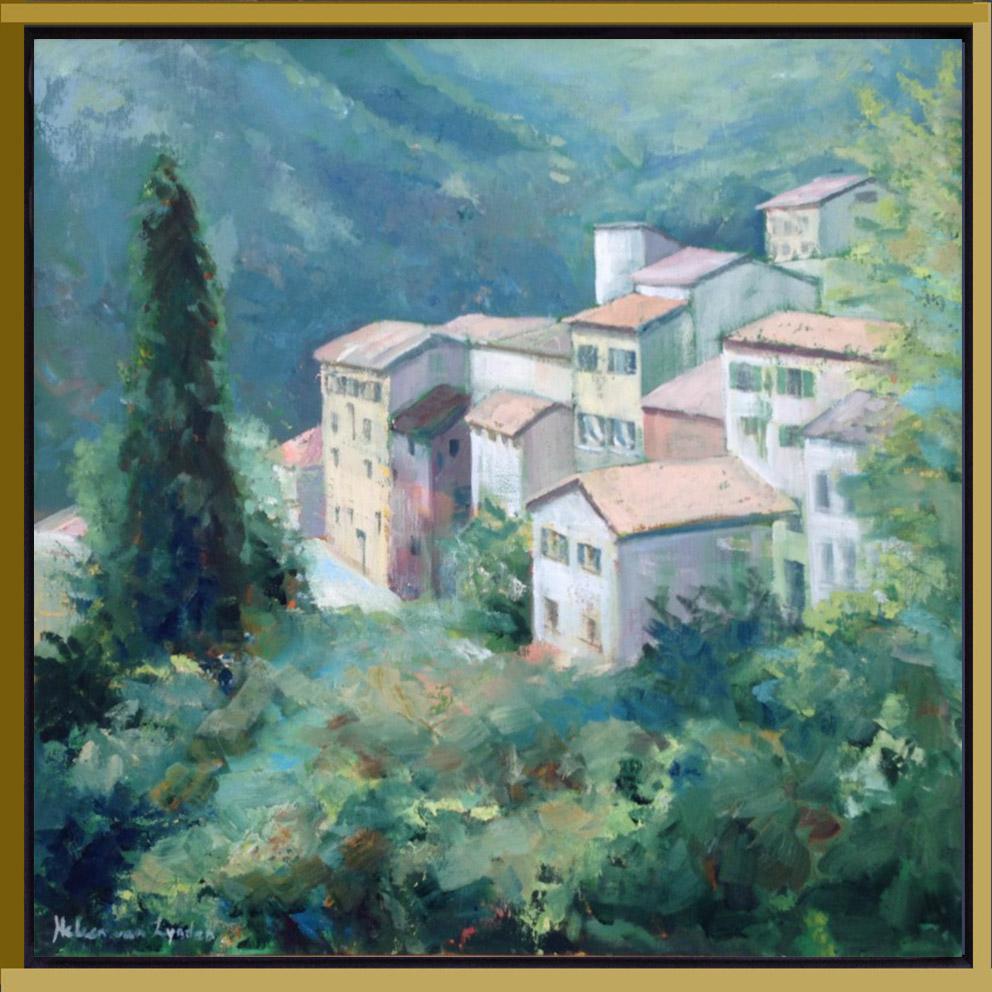 CS008-dorpje Provence-Aiglun-baklijst-goud-zwart