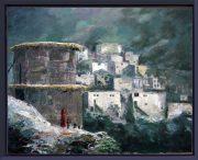 dorpje- Marokko-Atlas-lijst Verona blauw