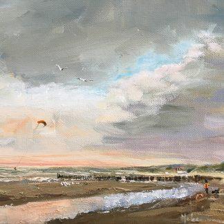 Dishoek-seascapes oil-zeegezicht olieverf, strandgezicht olieverf, Lynden strand Zeeland