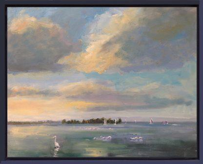 zwanen- IJsselmeer-Muiderberg-van Lynden-olieverfschilderij