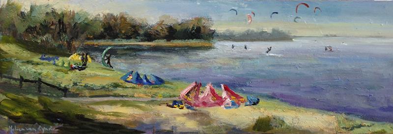 muiderberg-kite-kiters-olieverfschilderij kiters-Lynden