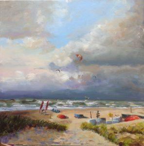 surfing in storm-zeegezichten-strandgezicht-olieverfschilderij zee-Lynden