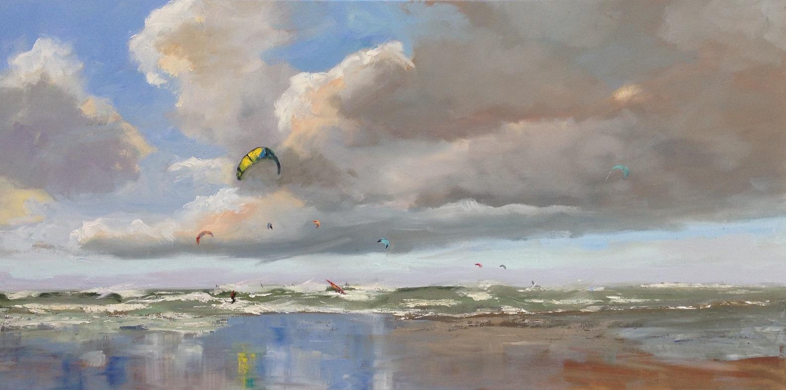 kiting Katwijk oilpaint-kiting Katwijk olieverf-seascape, zeegezicht strandgezicht-Lynden