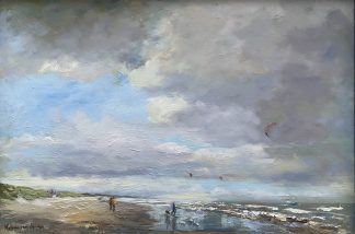 beach-sea, seascape, winterwalk on the beach, walk on the beach, strand, zeegezicht, olieverfschilderij, oilpaintings, dutch coast, luchten, wolken,