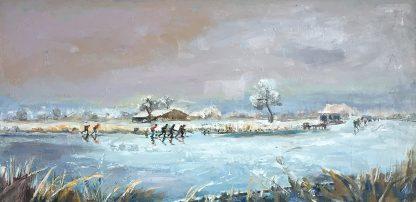 icescating oilpainting, landscape- winter-Lynden-schaatsen schilderij, landschap, winterlandschap
