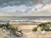 Ship-waiting-for-harbour-schilderij olieverf-seascape-zeegezicht-strandgezicht olieverf-Lynden