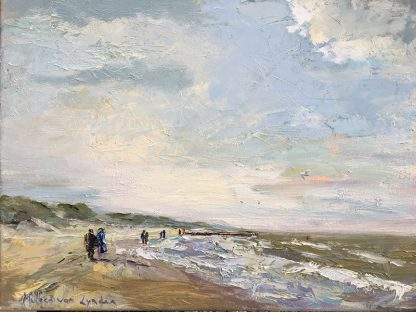 walk on the beach Dishoek, strandwandeling Dishoek, strandgezicht, zeegezicht olieverf, Lynden