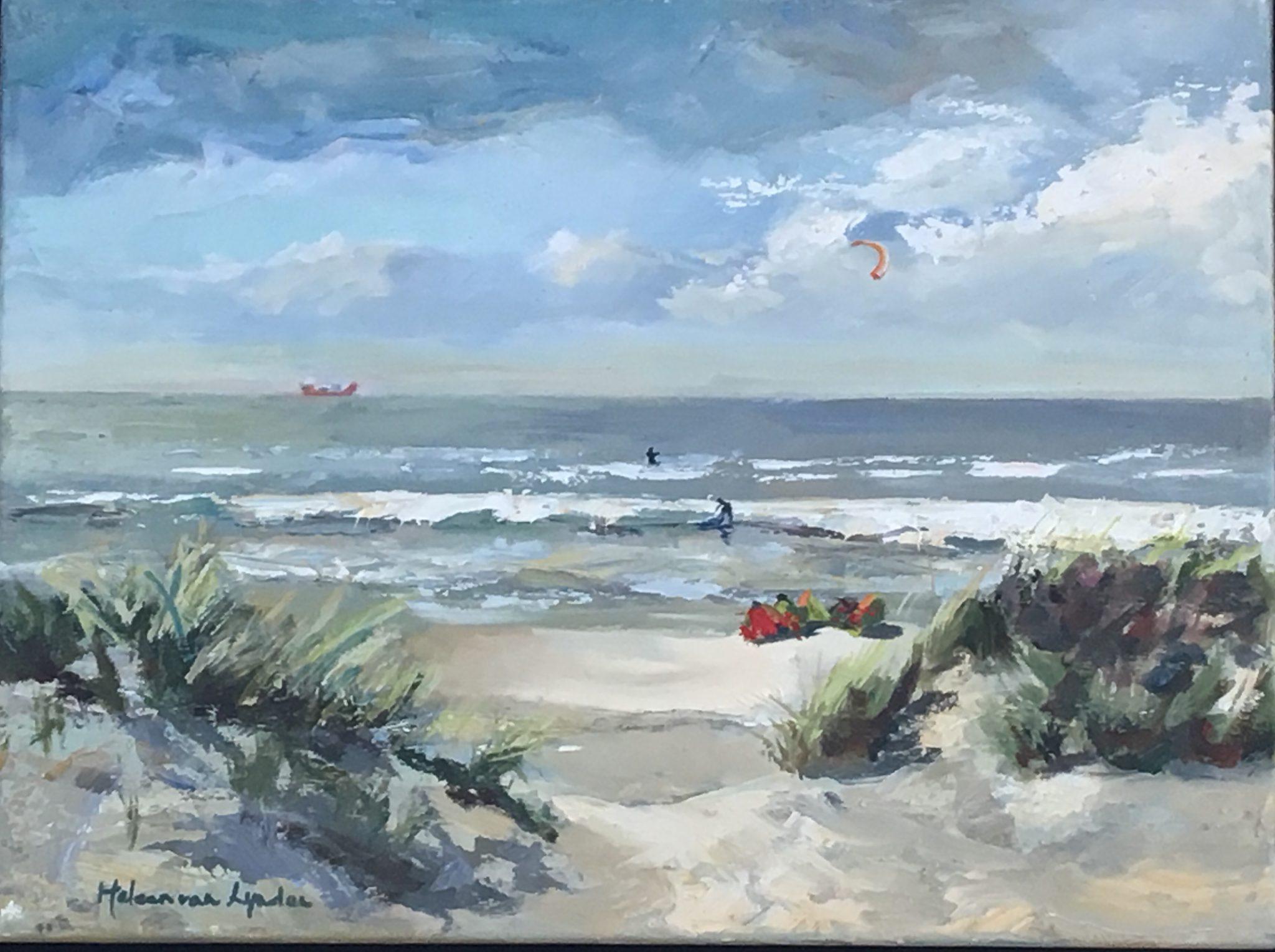 seascape- zeegezicht-zee-duinen- strandgezicht-van lynden-olieverf