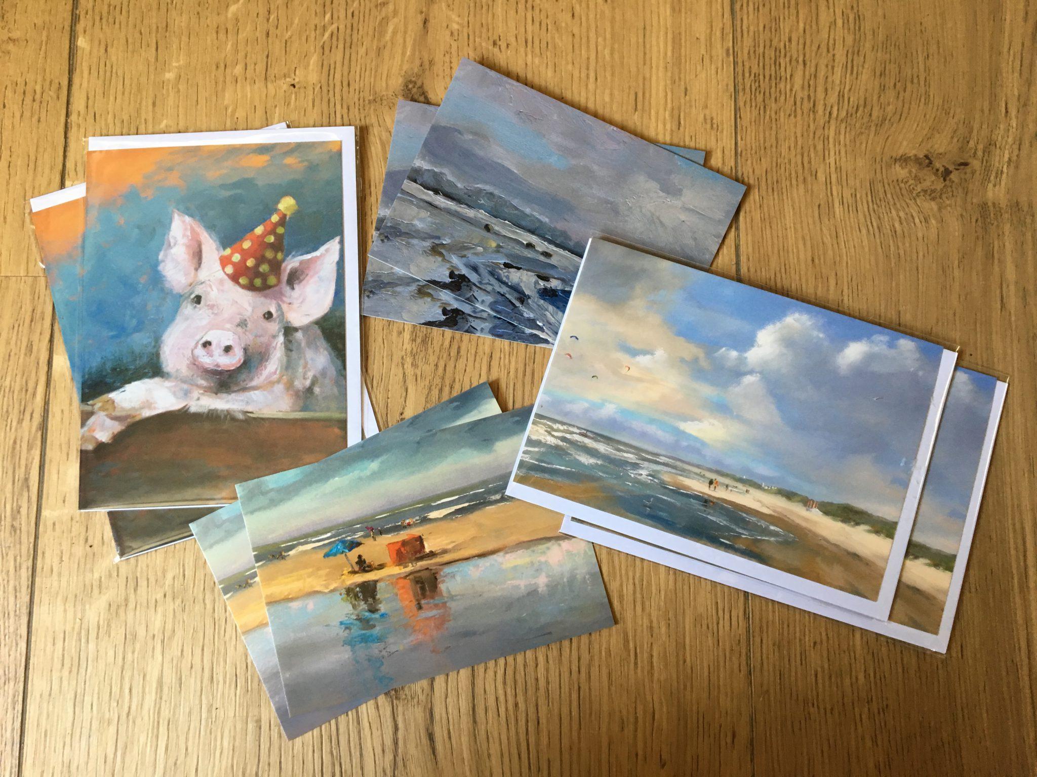 verjaarskaart, kaarten zeegezicht, kunstkaarten, Lynden