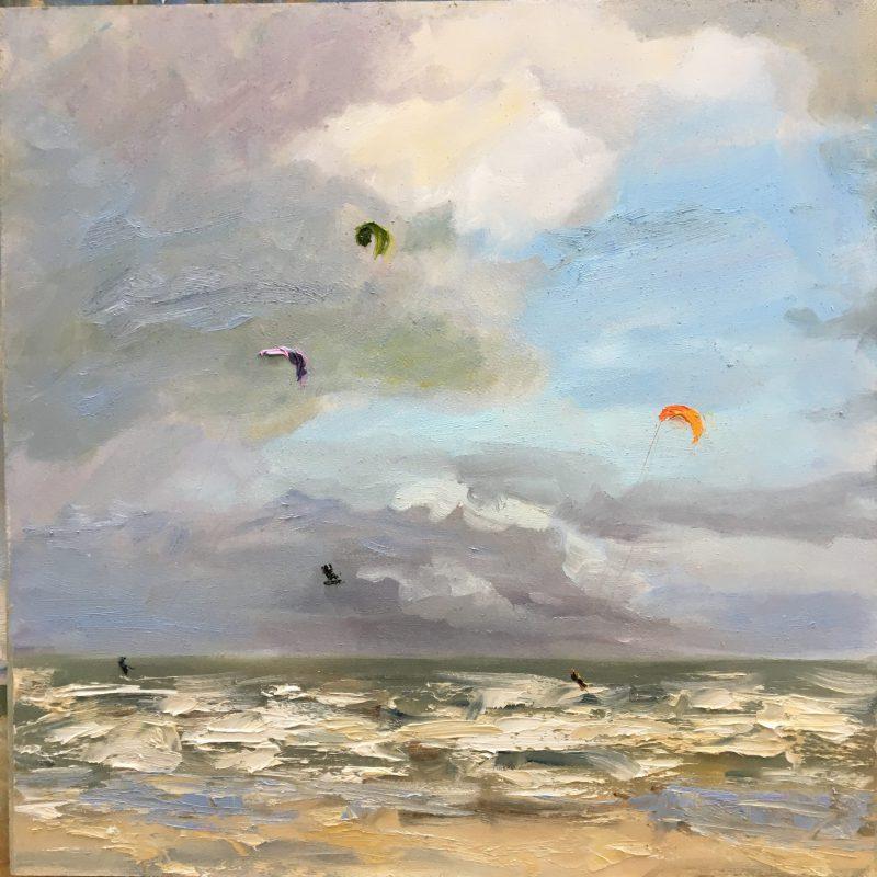 Katwijk kiters in storm, kiters, seascape, Lynden