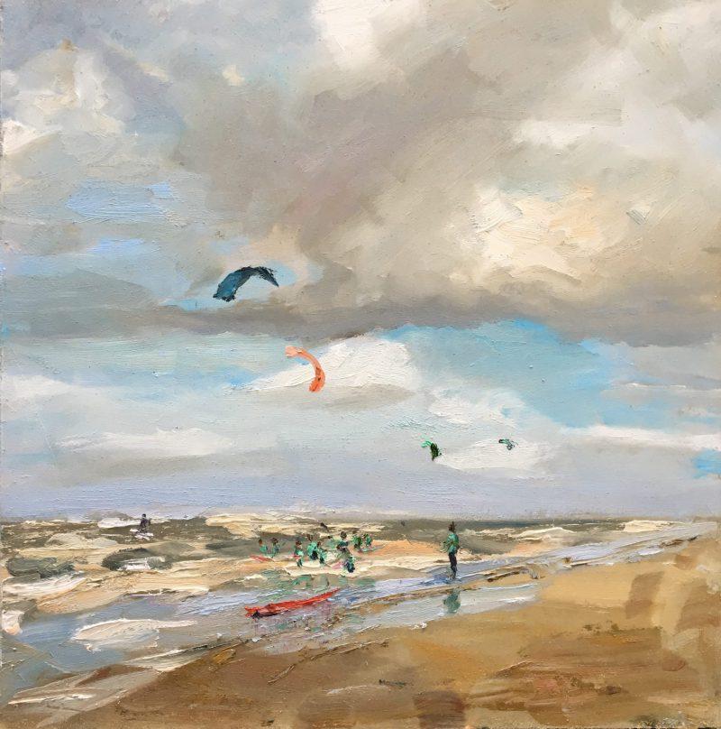 kiters en golfboarders Katwijk-Lynden-seascapes