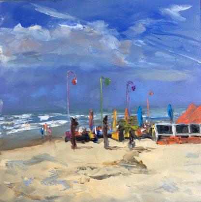 Paal 14 Katwijk-strandgezicht-zeegezicht-olieverfschilderij-zee-Heleenvanlynden
