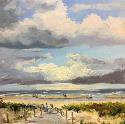 Kijkduin-oilpainting-seacsape- dunes- beach-van lynden