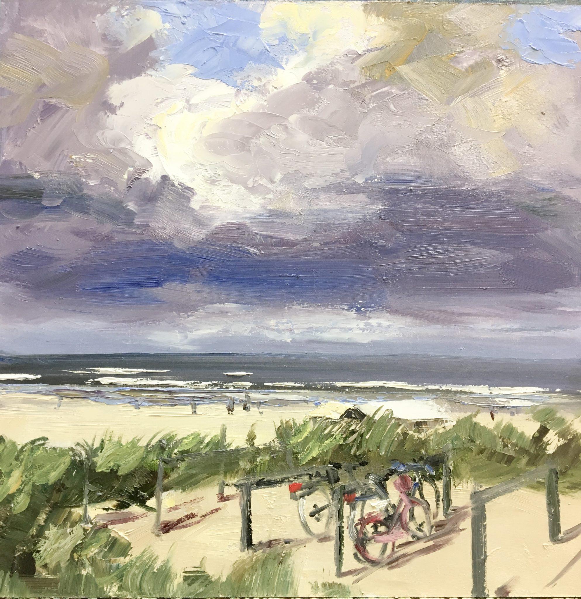 strand- fietsen- strandopgang-kijkduin-van Lynden-olieverf-schilderij