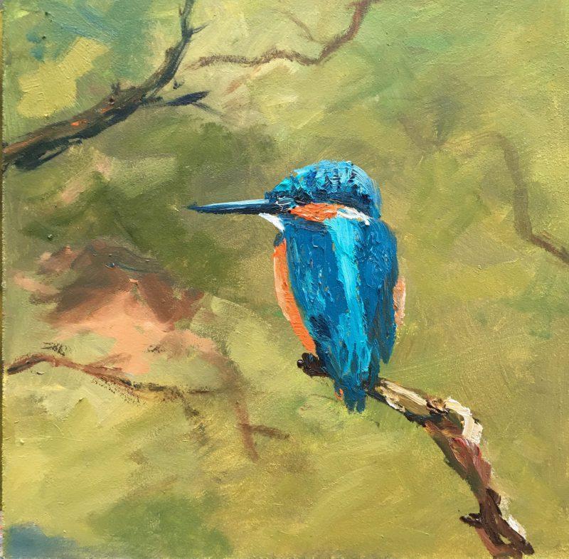 kingfisher-oilpainting-schilderij ijsvogel-oliverf-vogelschilderij-heleenvanlynden