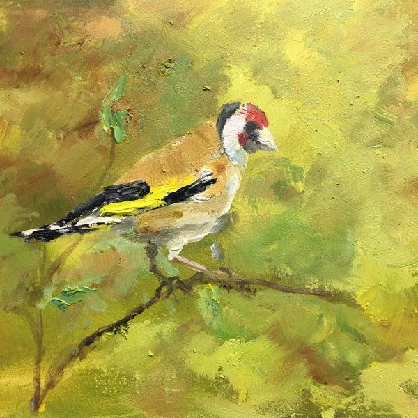goldfinch-bird- puttertje-olieverfschilderij-heleenvanlynden