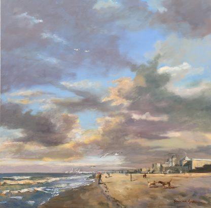Scheveningen, beach, Pier Scheveningen, Heleen van Lynden, oilpainting