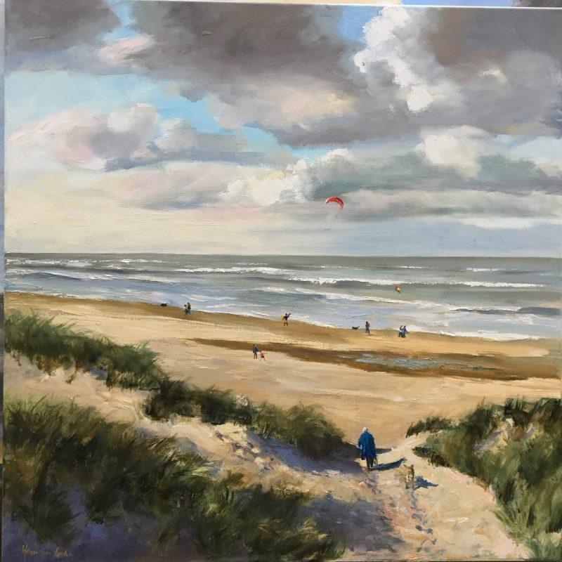walk on a sunny autumnday-seaview-zeegezicht-duinen-strand-van lynden
