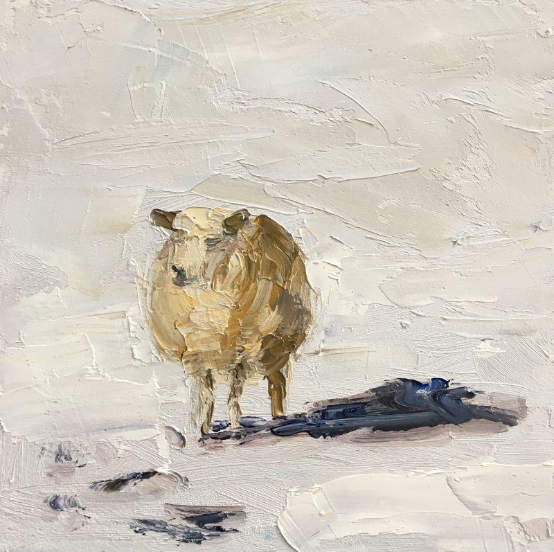 sheep-snowlandscape-snow-dutch landscape-winterlandscape-van Lynden-olieverf-oilpaint