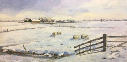 Schapen in de sneeuw, landscape, snowscape, sheep, Heleen van Lynden