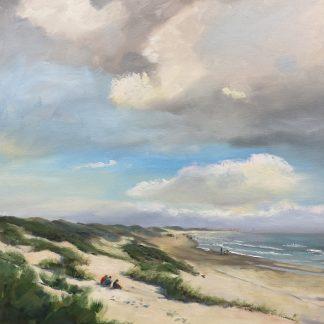 Gezicht op Scheveningen, Heleen van Lynden, zeegezicht, strand, duinen, zee, olieverfschilderij