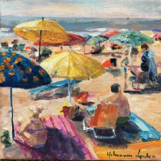 At the beach-people beach-strand-parasols op strand-HeleenvanLynden, olieverf
