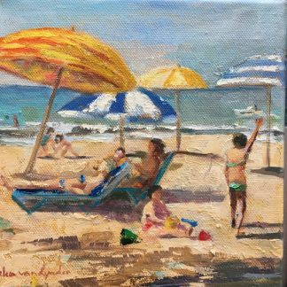 At the beach, sitting and playing.Size: 20x20 cm, oil on canvasCode:19WS047
