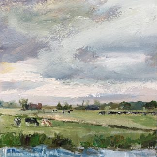 dutch landscape with cows, cows, landscape, Heleen van Lynden, oilpainting