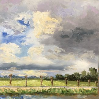 dutch landscape, oilpainting, willows, Heleen van Lynden, clouds