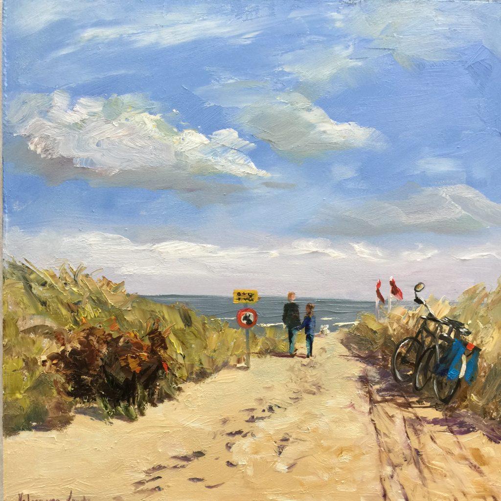 fietsen naar het strand-fietsen-biking-beach-oilpainting- Heleen van Lynden