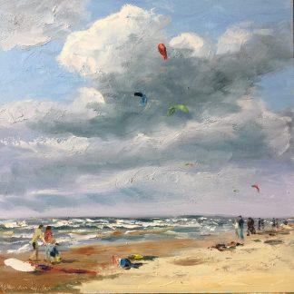 Zandvoort kiters, seaview, beach, surfing, surfen, zeegezicht, Heleen van Lynden, olieverf