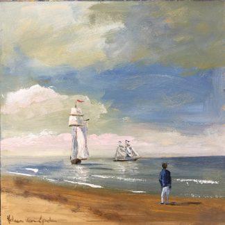 Sail Scheveningen-tall ship, sea, zee, zeilschip, olieverf op paneel, heleen van Lynden,