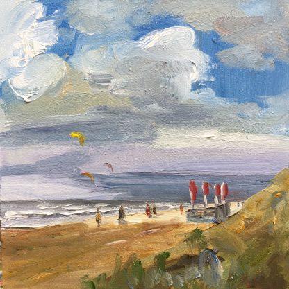 red flags, seascape, beach, strand, zee Katwijk, Heleen van Lynden