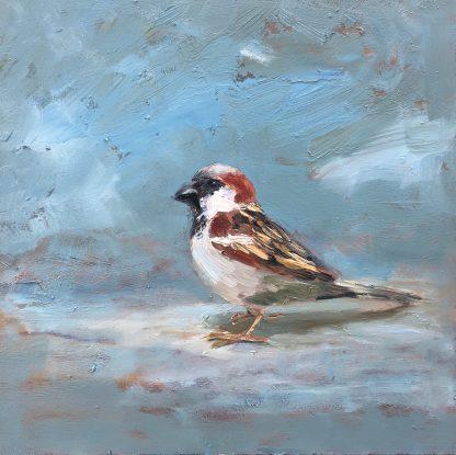 sparrow, Heleen van Lynden, oilpainting, birds, musje, vogel, olieverfschilderij