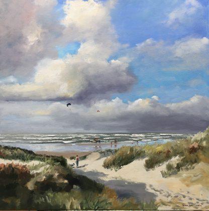 nice kiting-beachscape-seascape-Heleenvanlynden-oilpainting-zeegezicht-strandgezicht-duinen