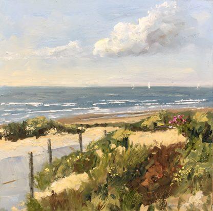 oilpainting-olieverfschilderij-zeegezicht-strandgezicht-dune entrance, besch,-Noordwijk, Heleen van Lynden