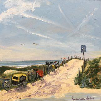 bikes, beach, Noordwijk, seascape, seaview, Dutch dunes