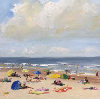 A sunny day, beach, summer, seascape, beachscape, coast of Holland, oilpainting, Heleen van Lynden