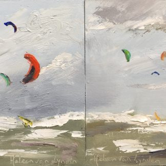 kiting, rough weather, sea, oilpainting, surfing, Heleen van Lynden
