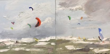 kiting, rough weather, sea, oilpainting, surfing, Heleen van Lynden