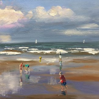 sunny day at the beach-beach-sea, seascape-summer- zomer- aan zee-Heleen van Lynden- olieverfschilderij