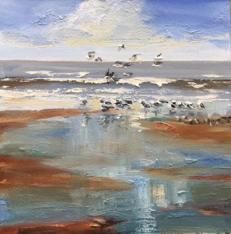 at the shore, beach, seascape, gulls, Heleen van Lynden, oilpaintings. olieverfschilderijen, zeegezichten